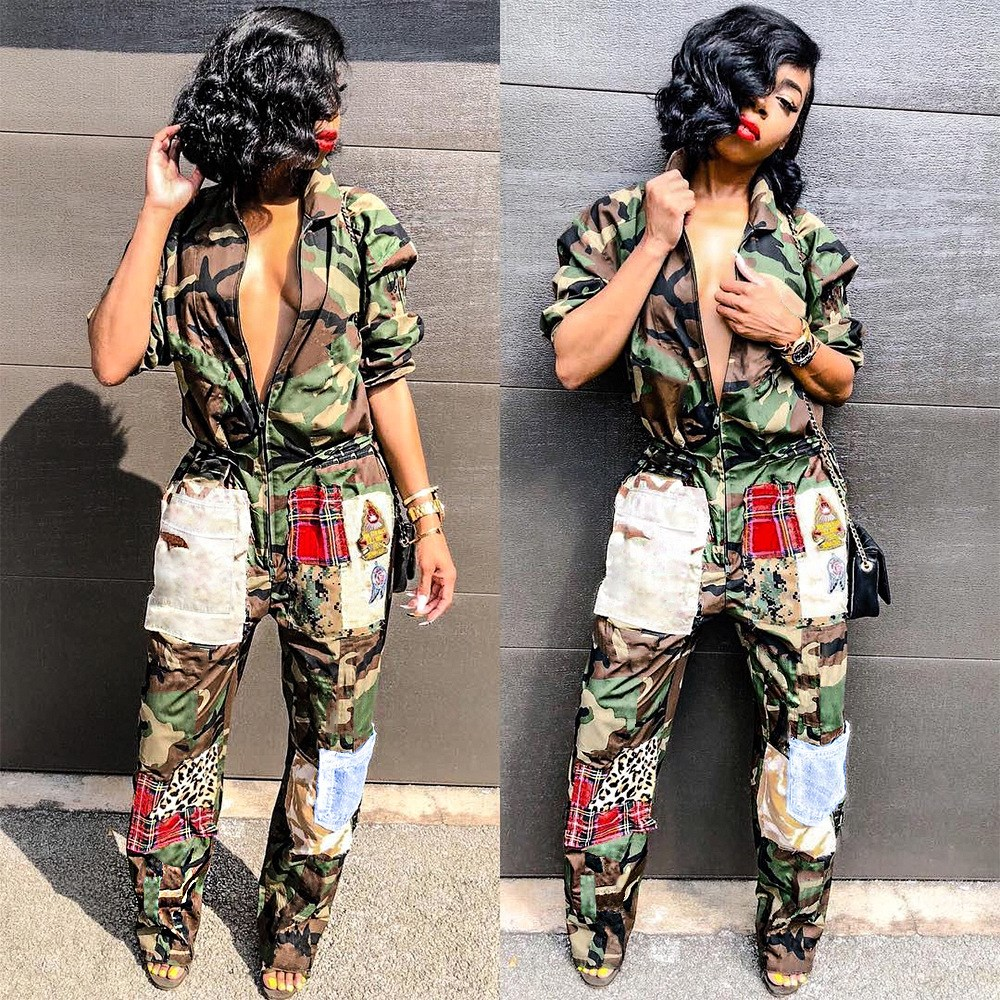 Sexy Bodysuit Tracksuit Rompers Womens Jumpsuit Backless Camouflage Print Ruched Plus Size Rompers Yals085 Women's Clothing