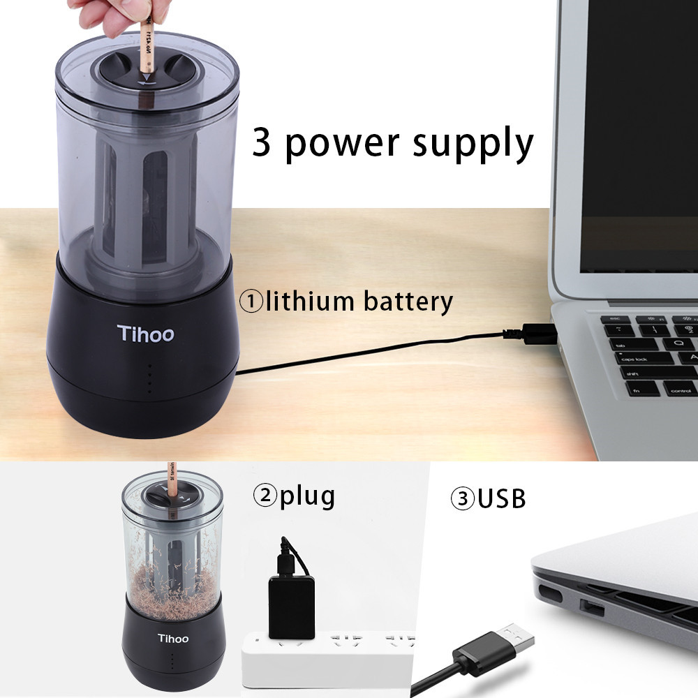 Tihoo Stationery Items Automatic Pencil Sharpener USB Mechanical Electric SharpenerKnife Drill For Kids Art Classroom Supplies Tihoo Stationery Items Automatic Pencil Sharpener USB Mechanical Electric SharpenerKnife Drill For Kids Art Classroom Supplies