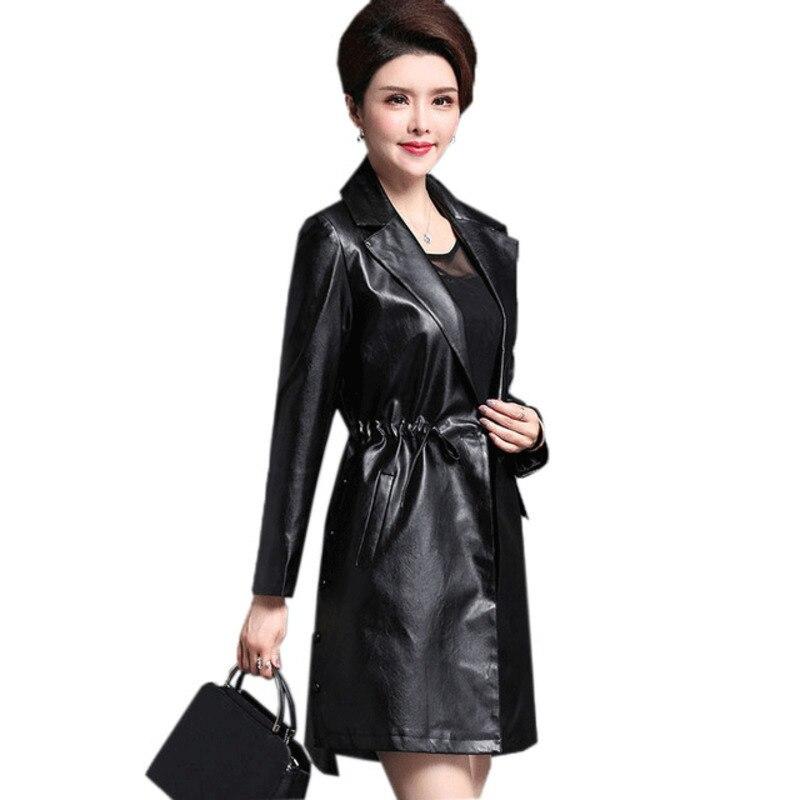 Autumn   Leather   Jacket Female Long   Leather   Jacket Women   Leather   Coat Plus Size 4XL Motorcycle Jacket Black   Leather   Coat Women Wz