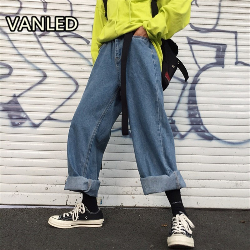 Fashion High Waist Loose Denim Pants   Jeans   Men Women Wide Leg Pants Streetwear