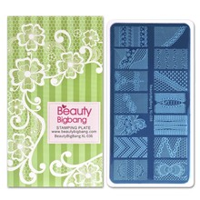 BEAUTYBIGBANG Nail Stamping Plates Lace Design Flower 6*12cm Image Art Stamp Mold Template Tool XL-036