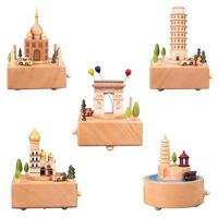 Creative Wooden Building Shape Music Box Caja De Musica Christmas New Year Gift Birthday Gifts
