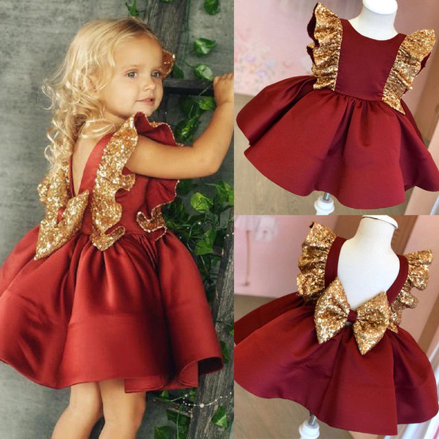 Christmas Toddler Kids Baby Girls Sequin Bowknot Dress Wedding Party Princess Dress