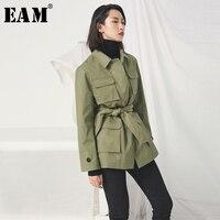 [EAM] 2019 Новый сезон: весна–лето нагрудные с длинным рукавом Армейский зеленый карман Разделение совместное талии повязки куртка Для женщин
