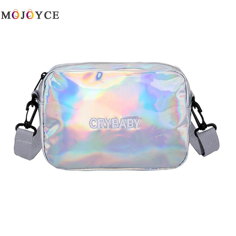 Fashion Laser PU Leather Crossbody Bags For Women Square Zipper Messenger Teenager Girls Shoulder Bag