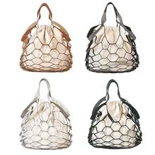 Fashion Hollow Mesh Leather Bucket Bag for Women Drawstring Summer Beach Shoulder Handbags Net Simple Shopping Bag Straw Bag(China)