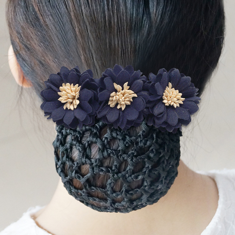Fashion Office Ladies Bow Nets Ribbon Floral Cloth Hair Bun Elegant Bank Hotel Staff Hair Clip Cover Flowers Snood Accessories