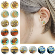 LNRRABC Van Gogh Painting Stud Earrings The Starry Night Ear Studs Sunflowers Round Jewelry Glass Dome brinco