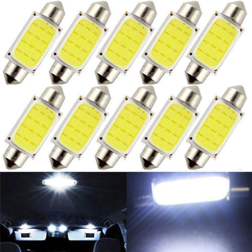 10pcs Car Interior Door Light 6500K 42MM Festoon White COB LED Map Dome Interior Lights Bulbs Super Bright Car Styling Lamp