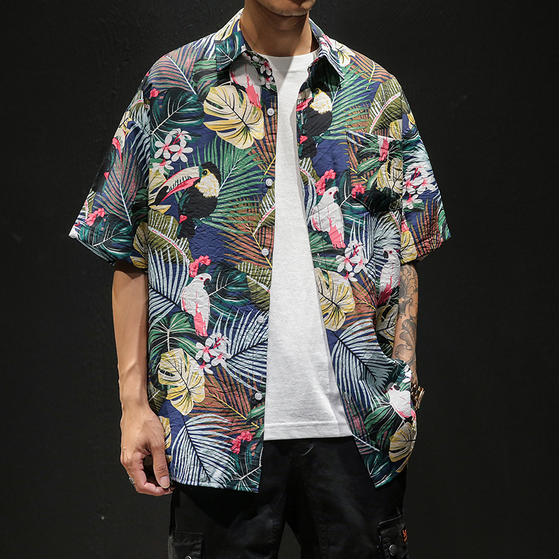 2019 summer new large size Japanese male Thin beach casual couple flower hawaiian Plaid Long shirt camisas Fashion Free shipping