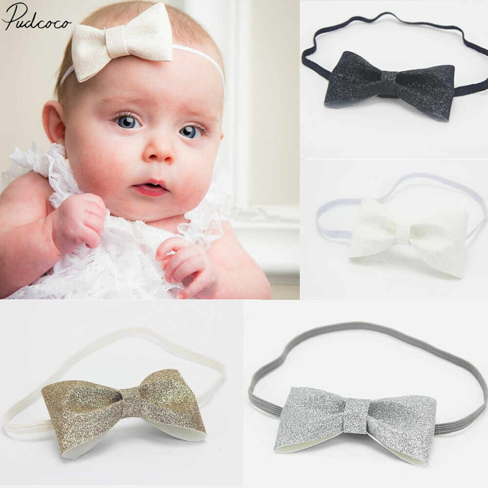 2019 Brand New Cute Toddler Newborn Baby Girl Headband Photo Prop Costume Sequin Bowknot Headwear Baby Shower Elastic Head Wrap