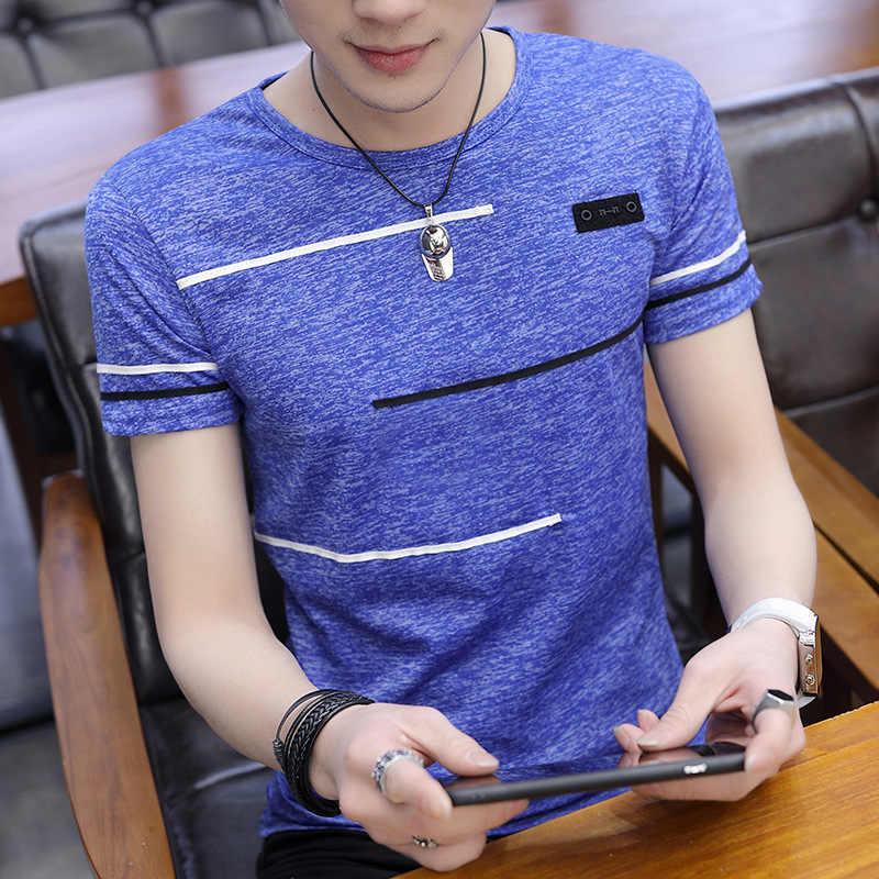 เกาหลีแขนสั้น T เสื้อผู้ชาย O คอโพลีเอสเตอร์ Mens T เสื้อฤดูร้อน Tee ชาย Slim สบายๆ Tee เสื้อ Homme 4XL