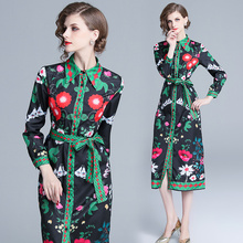 2019 Women printing Spring long sleeve dress Elegant lapel loose style long party dress for female Hot sale women vestidos new fashion 2018 spring women lace dress elegnt black dress vestidos long sleeve knitted dresses female outwear hot sale lx19