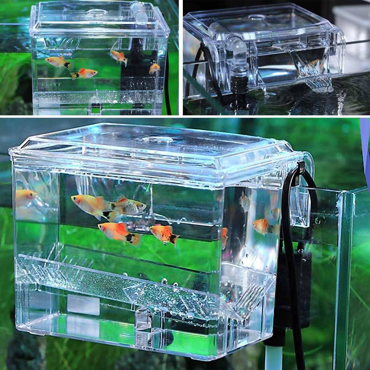 Fish Tank Breeding Hatchery House Incubator Aquarium Transparent Breeder Isolation Hanging Box Reptile Turtle Cage Pump