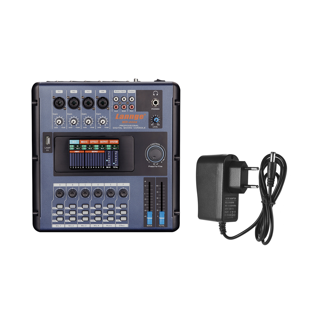 Lannge MD 2006 6 Channel Digital Mixing Console Mixer LCD Touch Screen Built in Effects with