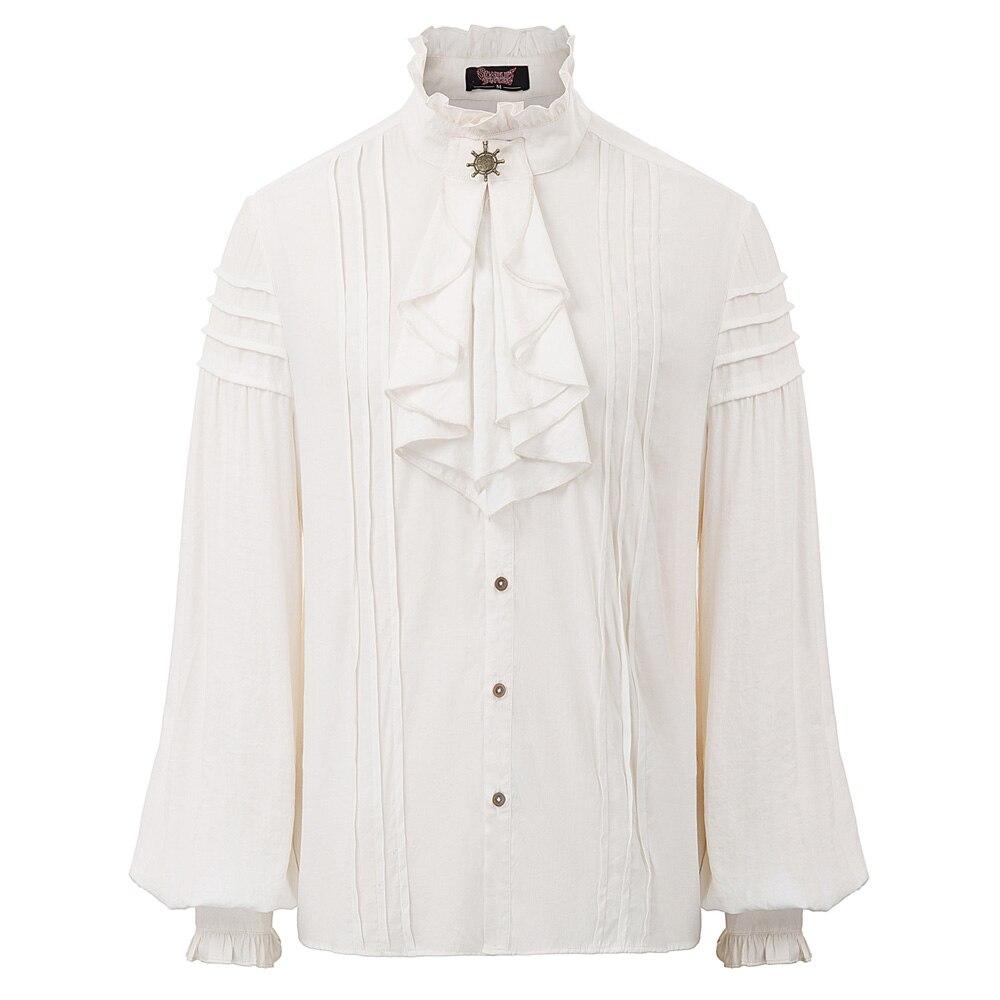 Vintage Shirt Blouse Steampunk Jabot-Collar Long-Sleeve Victorian Retro Evening-Party