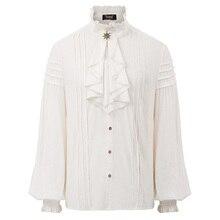 Мужская винтажная рубашка Стимпанк Викторианский Ренессанс однотонная Ретро вечерняя блуза с длинным рукавом жабо воротник рубашка мужские топы