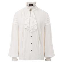 Męska koszula vintage steampunkowe wiktoriańskie renesansu stałe retro wieczór bluzka na imprezę z długim rękawem żabot kołnierz dorywczo koszula mężczyzna topy tanie tanio Tuxedo koszule Pełna Poliester Włókno bambusowe Suknem Pojedyncze piersi Stojak Latarnia rękaw SL000100 men shirt blouse tops