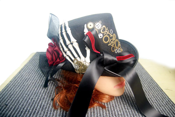 Steampunk Skeleton Hand Hat Punk Gears Ribbon Lace Hats Fedora Gothic Accessories For Man/Women 1