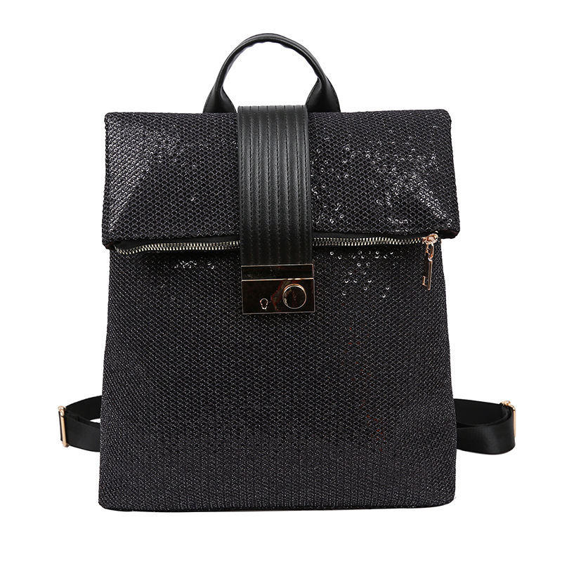 Image 5 - Europe And The United States Retro Soft Leather Sequins Backpack Women Women's Personality Lock Backpack Leisure Travel Mochila-in Backpacks from Luggage & Bags