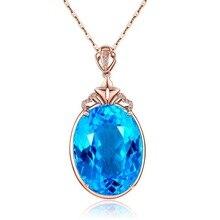 Sea Blue Topaz Sapphire Pendants 14K Rose Golden Goose Egg-shaped Coloured Necklace for Women Chalcedony Colgante Bizuteria 2019