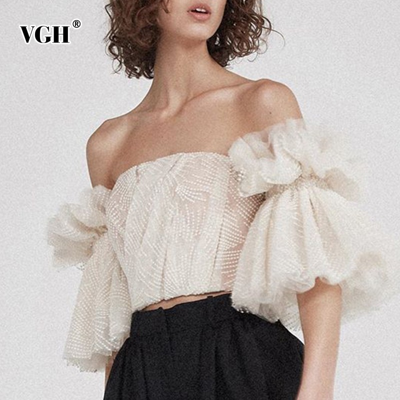 VGH Vintage Women Blouse Top Female Ruffles Short Sleeve Slash Neck Sexy Off Shoulder Female Shirt Short Fashion 2019 New Tide