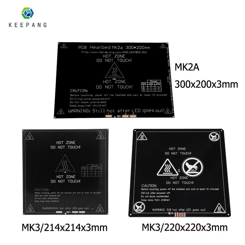12V Upgraded MK3 Heatbed 214x214/220x220/300x200x3mm Aluminum Heated Bed Hotbed For 3d Printer Parts Impressora 3d Pe As