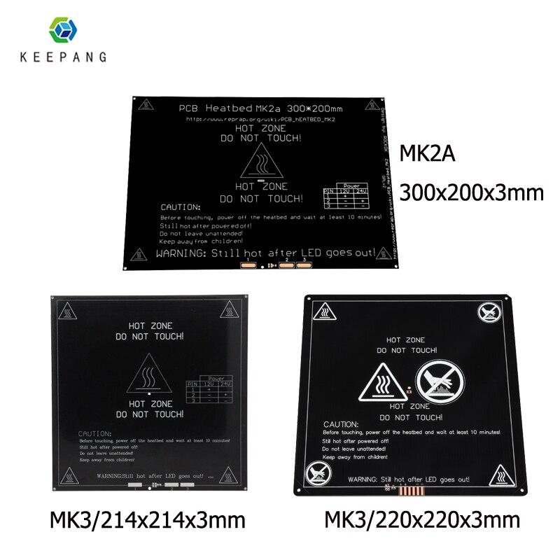 12V Atualizado MK3 heatbed 214x214/220x220/300x200x3mm de Alumínio cama aquecida viveiro para peças de impressora 3d impressora 3d pe como