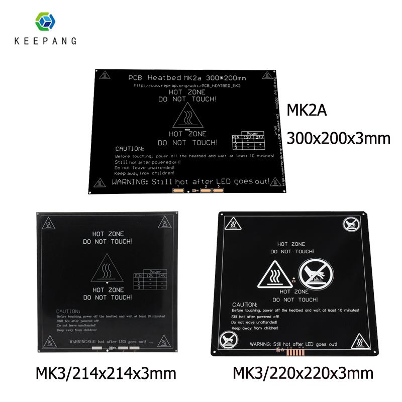 12V Upgraded MK3 Heatbed 214x214 220x220 300x200x3mm Aluminum Heated Bed Hotbed for 3D Printer Heatbed Impressora 3d pe as