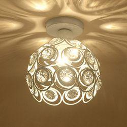 WSFS Hot E27 biały kreatywny kryształ minimalistyczny lampa sufitowa prosta lampa sufitowa sypialnia aleja prosta europejska lampa z żelaza w Oświetlenie sufitowe od Lampy i oświetlenie na