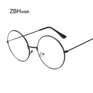 أزياء خمر الرجعية المعادن إطار واضح عدسة النظارات الطالب الذي يذاكر كثيرا المهوس نظارات نظارات أسود المتضخم جولة دائرة العين نظارات