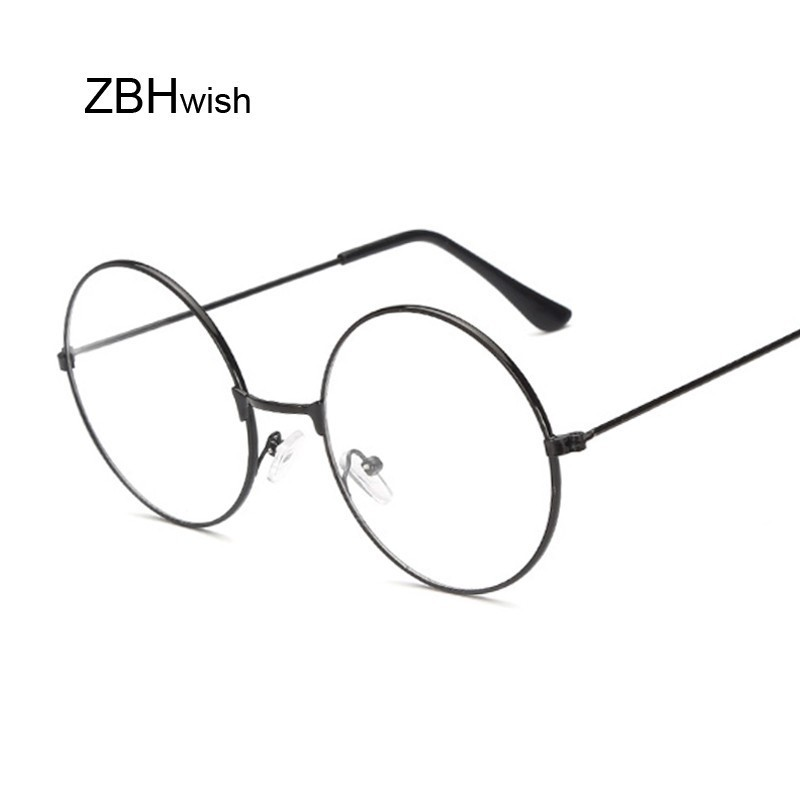 Fashion Vintage Retro Metal Frame Clear Lens Glasses Nerd Geek Eyewear Eyeglasses Black Oversized Round Circle Eye Glasses image