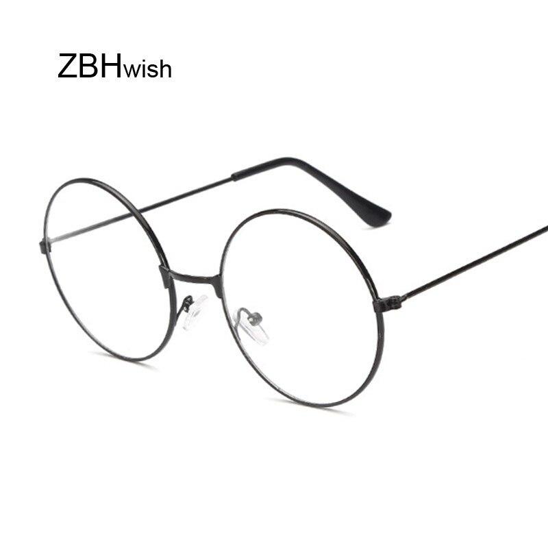 Moda Vintage metalowa oprawa retro okulary z przezroczystymi szkłami Nerd Geek okulary okulary czarne ponadgabarytowe okrągłe okulary