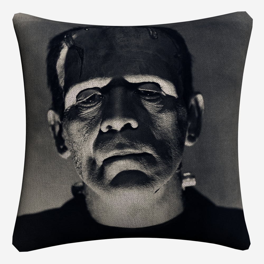 Frankenstein Horror Watercolor Soft Cotton Linen Cushion Covers 45x45cm Vintage Pillowcase For Sofa Home Decoration Almofada in Cushion Cover from Home Garden