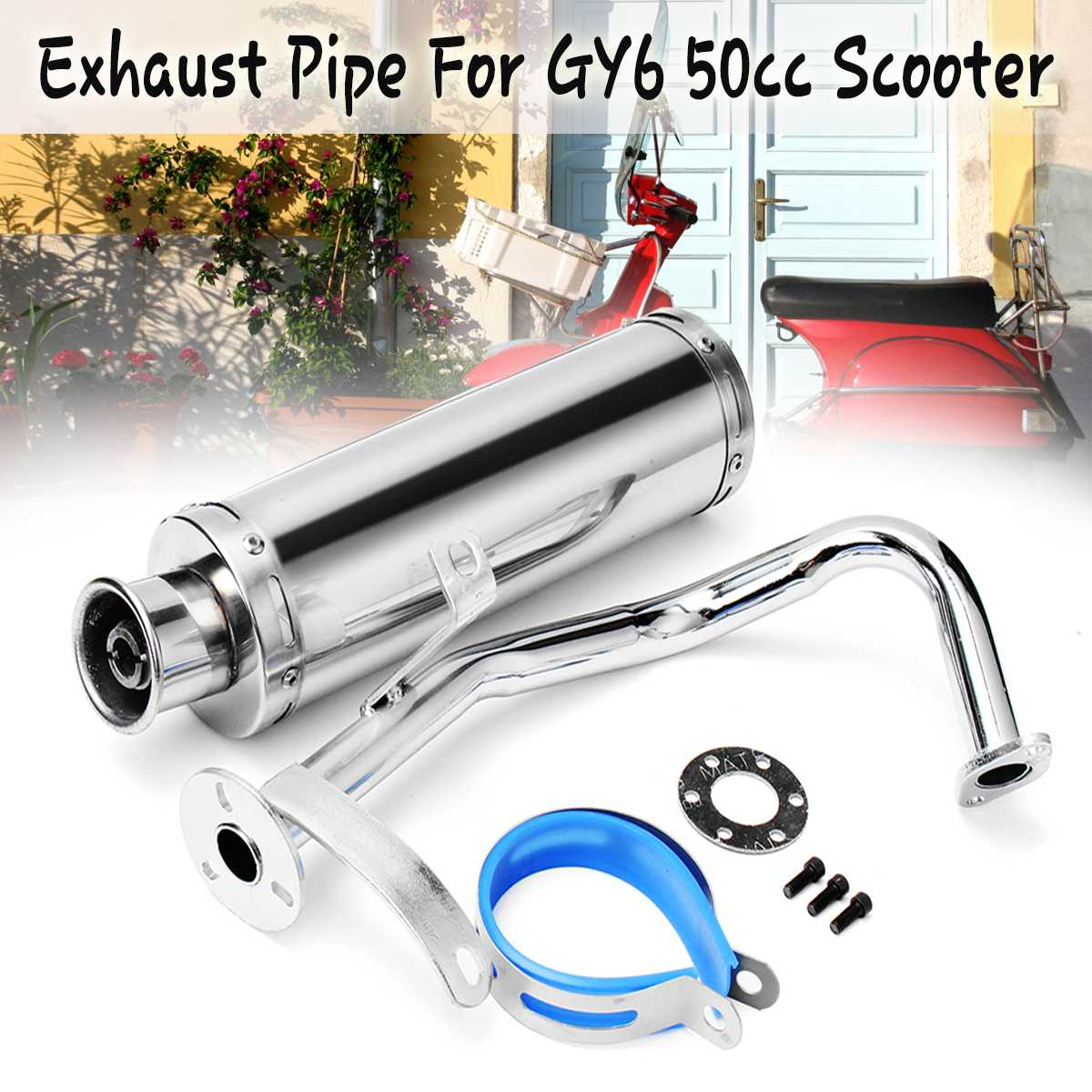 Stainless Steel Exhaust Muffler Pipe System Gasket Kit Fit For Scooter GY6 50cc GY6 QM139 Exhaust PipeStainless Steel Exhaust Muffler Pipe System Gasket Kit Fit For Scooter GY6 50cc GY6 QM139 Exhaust Pipe