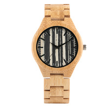 Wood Watch Men Stripe Dial Bamboo Timepieces Casual