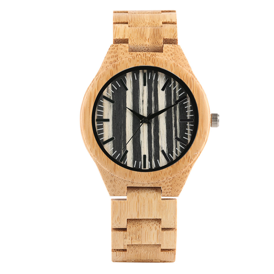 Wood Watch Men Stripe Dial Bamboo Timepieces Casual Watches Bamboo Leather Band Male Clock Gifts 2019 New Arrival Montre Homme