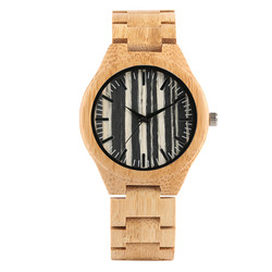 Wood Watch Men Stripe Dial Bamboo Timepieces Casual Watches Bamboo Leather Band Male Clock Gifts New Arrival montre homme