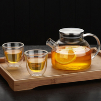 1 Pc 500ml Household Glass Teapot Healthy Heat Resistant Glass Tea Jar Kettle For Family Office Use Drinkware Teapots     -