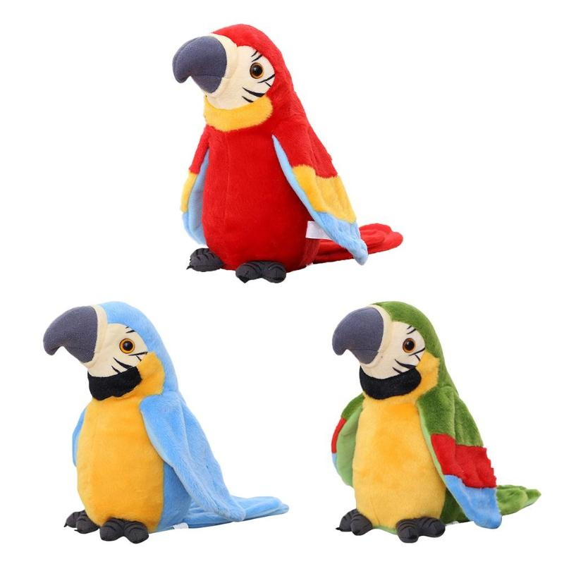Cute Talking Pets Macaw Stuffed Animal Sound Record Repeat Parrot Plush Toy