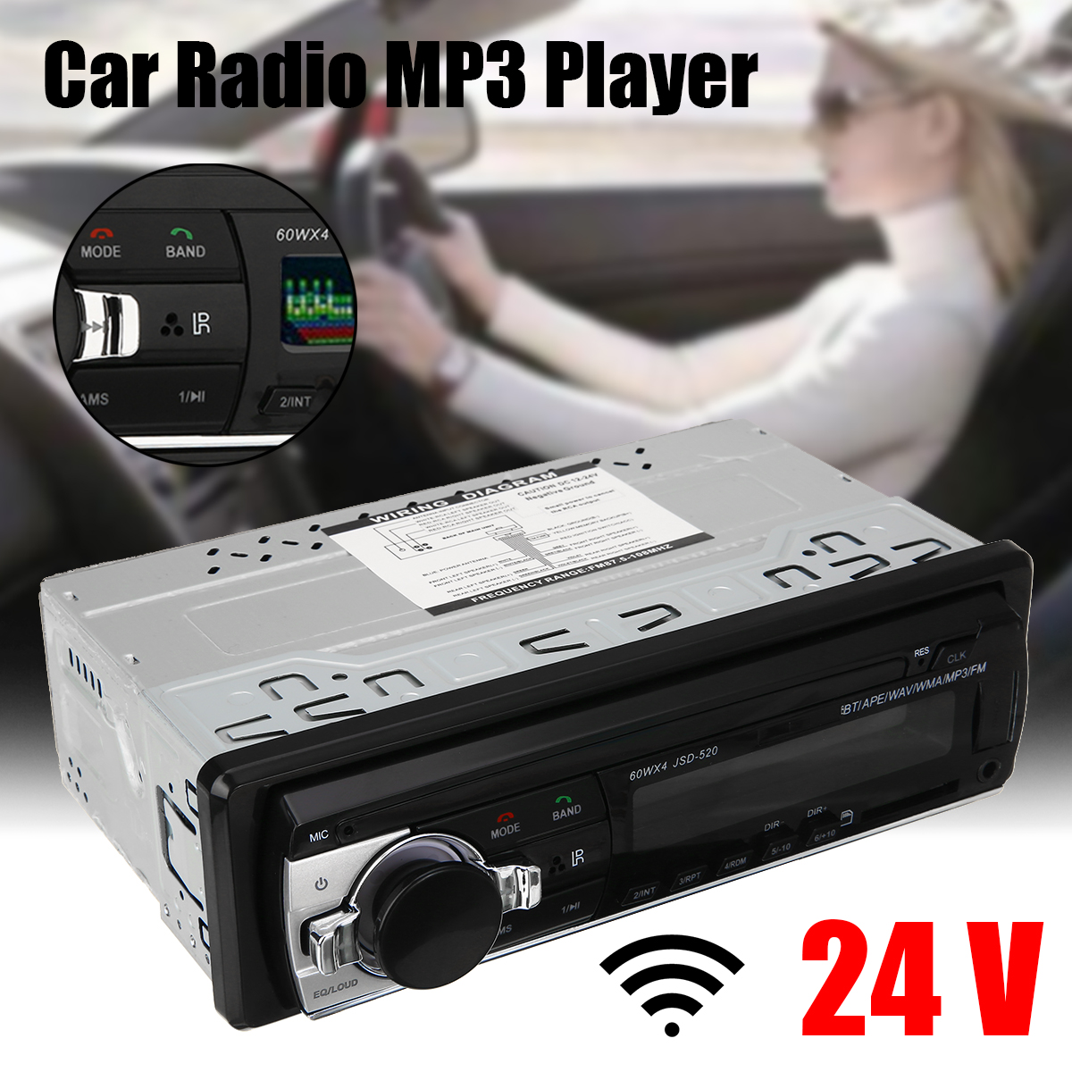 MAYITR JSD-520 24V Car bluetooth Stereo MP3 Player FM Radio USB SD AUX+Volume Control Real Time Clock Function image