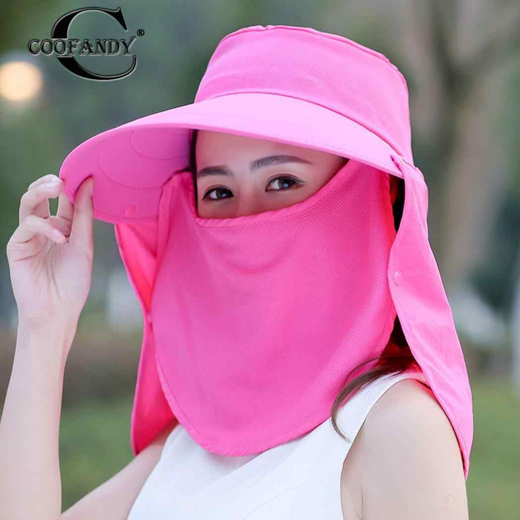 bd1baeefb Women Sun Visor Hats With Face Neck Fashion Casual Summer/Spring/Summer  Solid Cover UV Protection Beach Hat