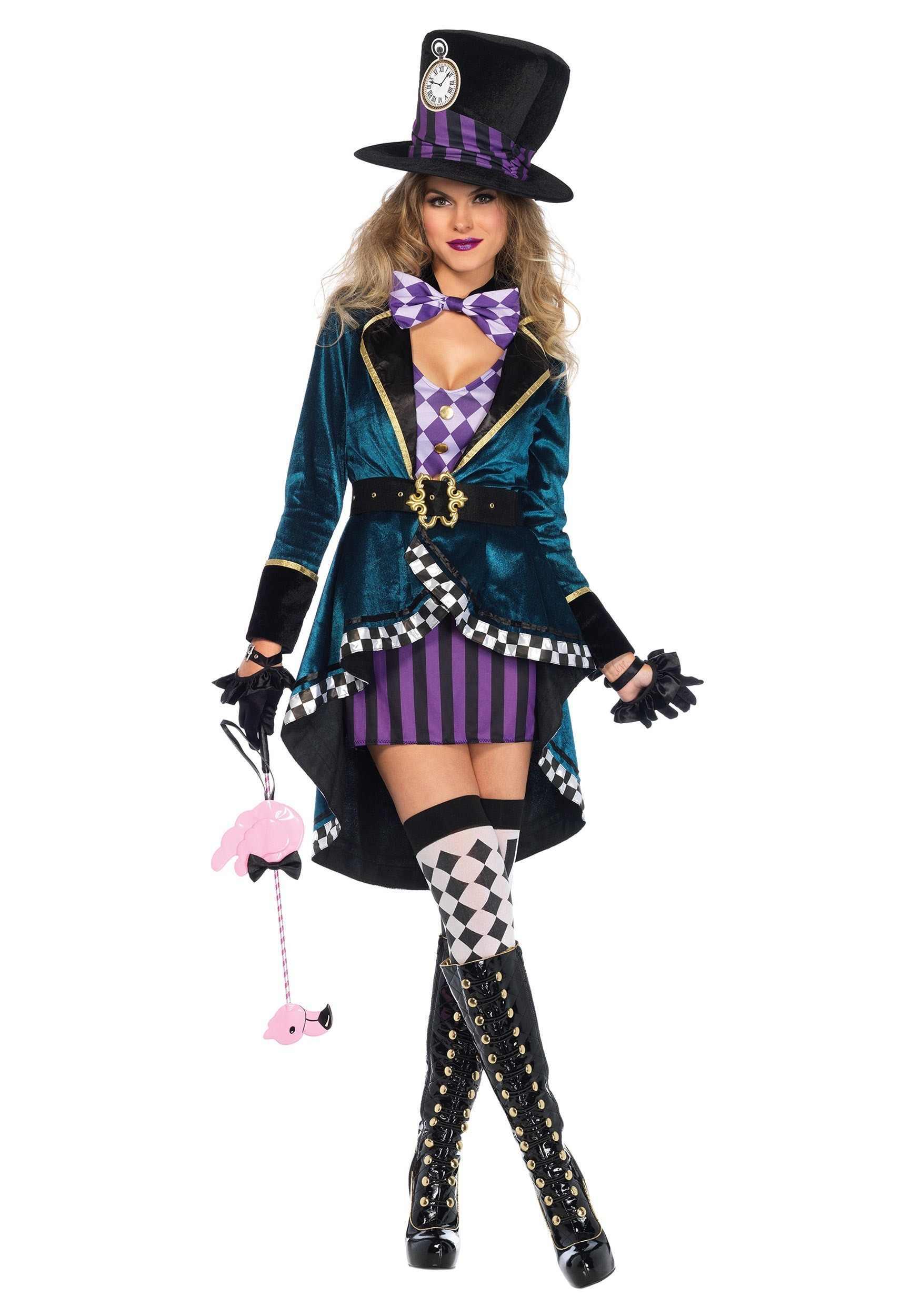 Взрослый Алиса в стране чудес фантазия Костюм безумного Шляпника костюмы на Хэллоуин для женщин; Большие размеры