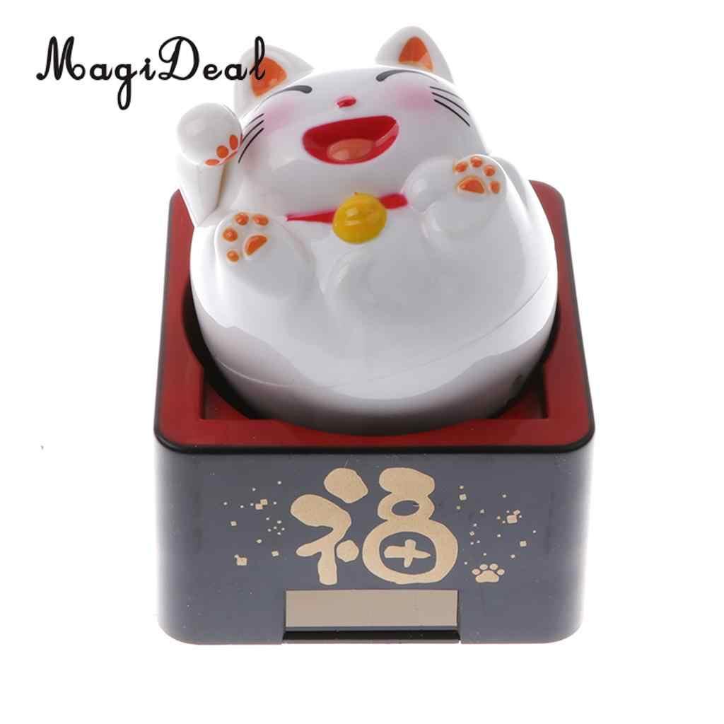 MagiDeal zasilana energią słoneczną Bobble głowa zabawka fala dobry kot na szczęście ozdoba dekoracyjna sklep hotelowy kawiarnia Fengshui Ornament