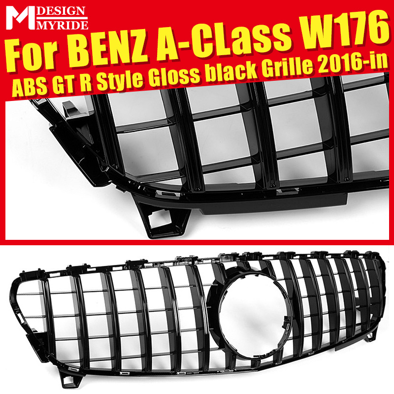 Fits For W176 without emblem Front Grille for A-Class W176 A180 A200 A250 A45 GTS Style Glossy Black Front Bumper Grille 2016-inFits For W176 without emblem Front Grille for A-Class W176 A180 A200 A250 A45 GTS Style Glossy Black Front Bumper Grille 2016-in