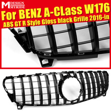 Fits For W176 without emblem Front Grille for A-Class A180 A200 A250 A45 GTS Style Glossy Black Bumper 2016-in
