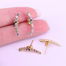 8Pairs New trendy multi color cz zircon rainbow studs earring high quality jewelry,for women girls