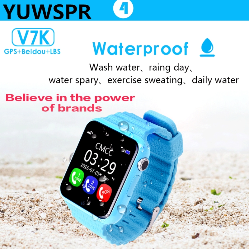 Watch Tracker Location Waterproof Children Kids V7K Devicer Camera Sos-Call