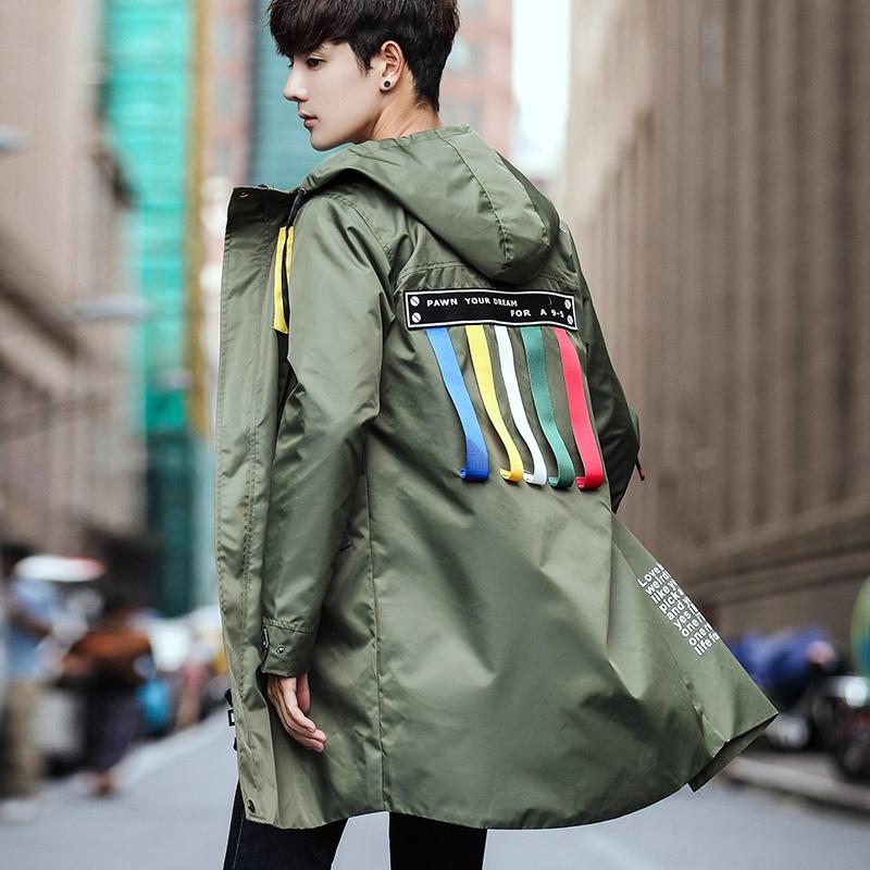 #4005 Neue 2019 Schlank Harajuku Graben Mantel Männer Bänder Streetwear Mit Mit Kapuze Plus Größe 5xl Gerade Zipper Lange Graben Mantel Homme