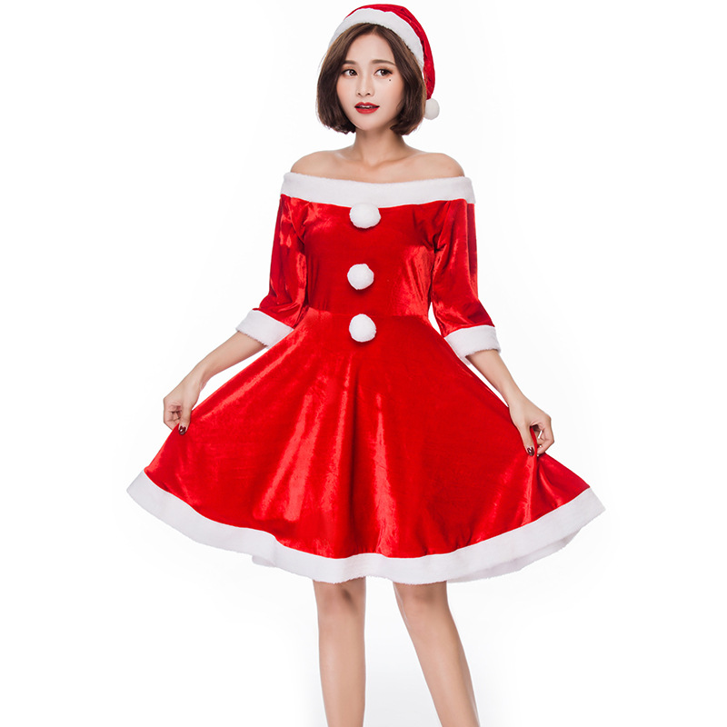 Christmas Red Miss Santa Claus Fancy Dress For Adult Women
